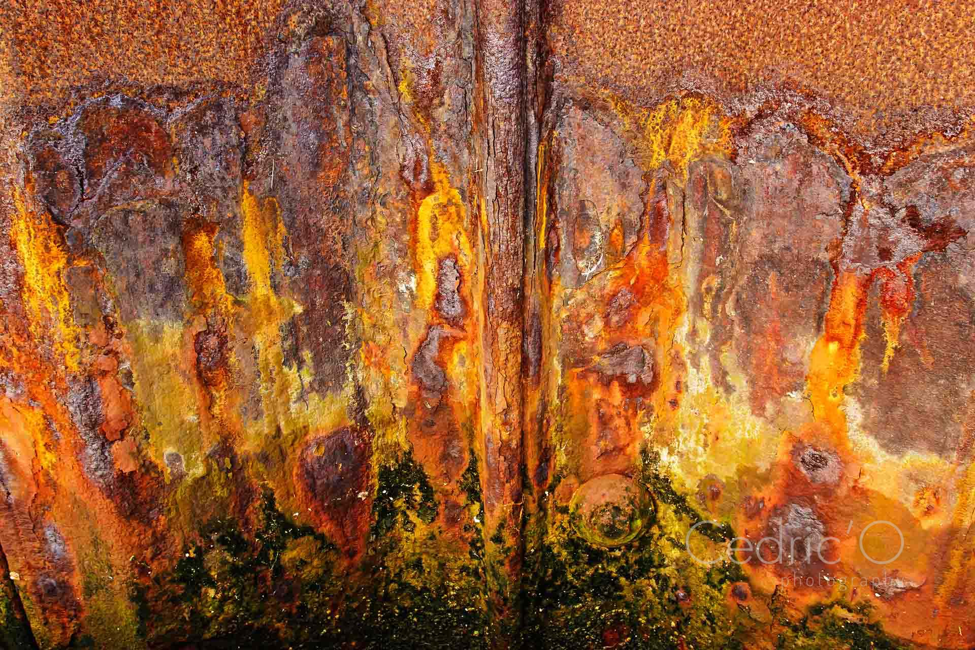 Rusted sea-wall