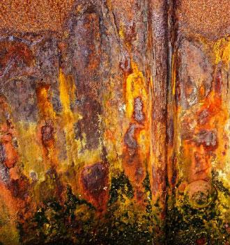 Rusted sea-wall